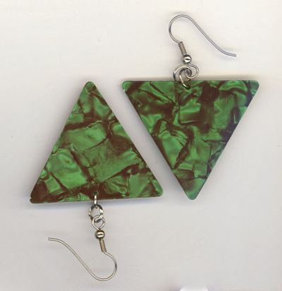emerald green triangle GP earrings