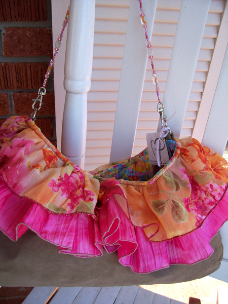 pink orange satin ruffled handbag