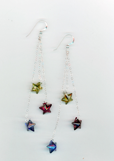 red gold blue star chain ss earrings
