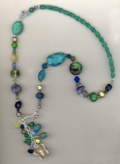turquoise blue green gemstone mix necklace