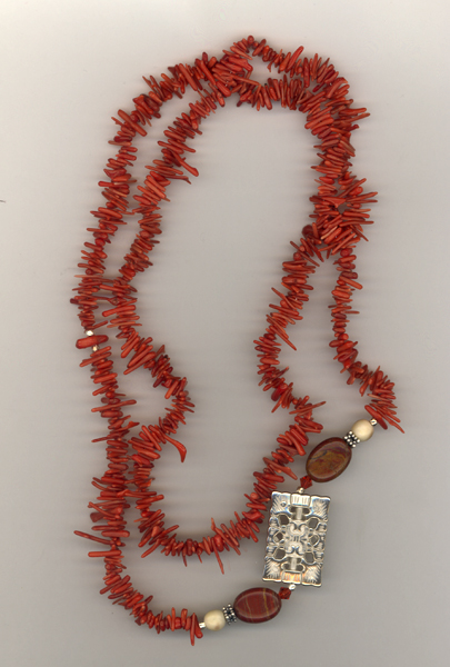coral jasper gemstone long necklace
