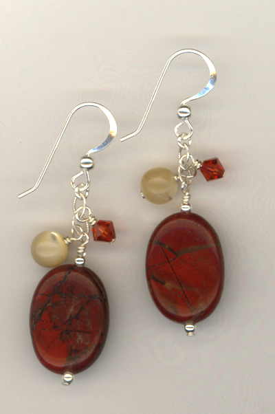 Red Jasper MOP crystal earrings