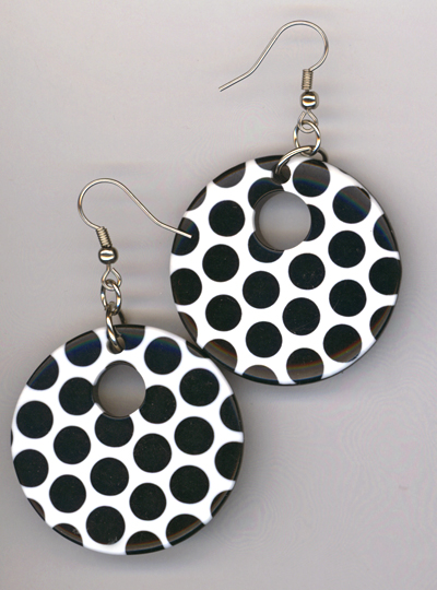 Black White Polka Dot Acrylic Earrings