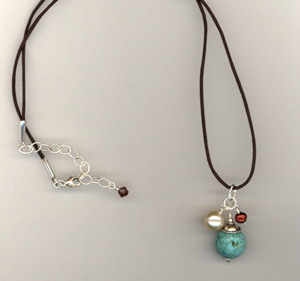 Turquoise Artisan Leather Necklace