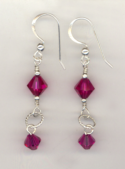 Ring of Beauty Fuchsia Crystal Earrings