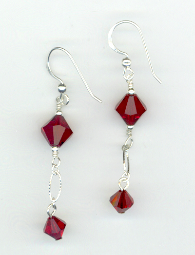 Siam Red Crystal Holiday Earring