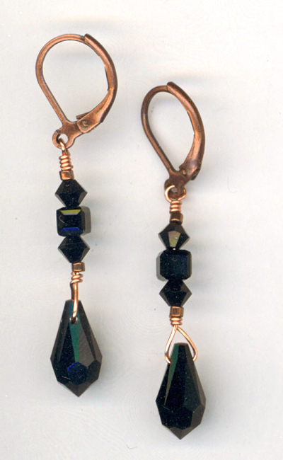 Jet Black Copper Pendant Earrings