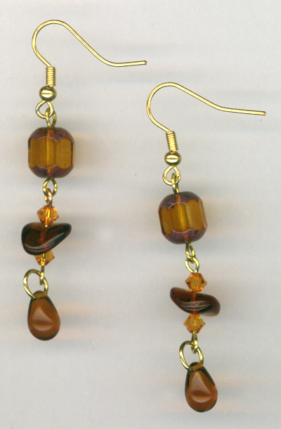 Topaz gold brown triple earrings