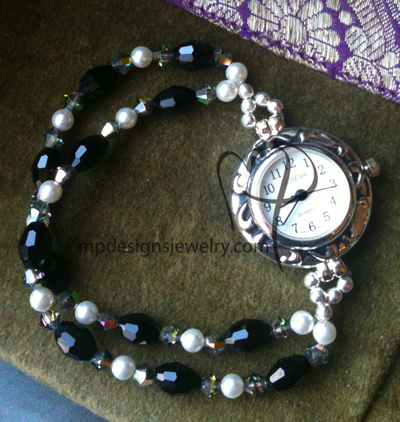 Black & White Elegance Crystal Pearl Beaded Watch