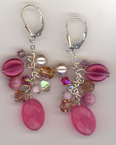 Pink Jade Crystal Cluster Earrings