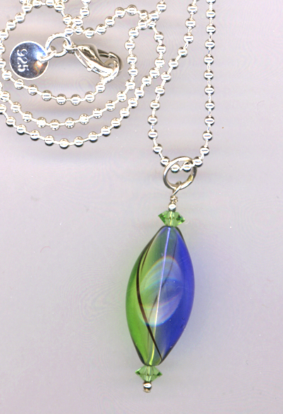 Meadow Sky Handblown Oval Glass Pendant