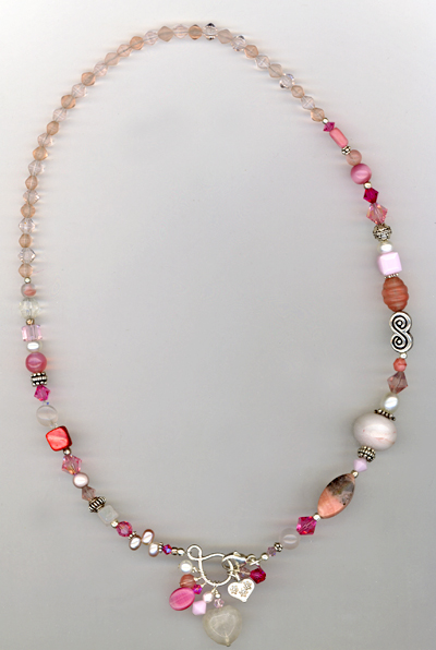 Multi- Gemstone Pink Artisan Charm Necklace