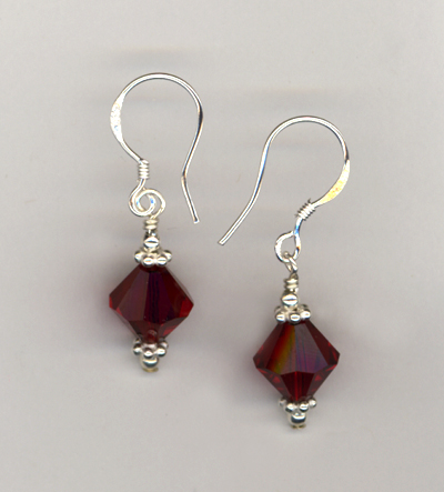 Valentine Red Swarovski Crystal Sterling Earrings