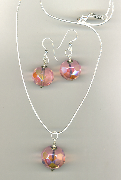 Cotton Candy Pink Crystal Necklace/Earrings Set