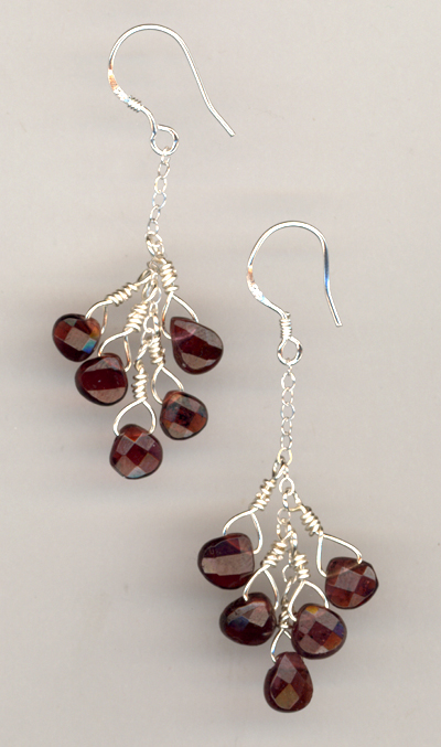 Bleeding Heart Garnet Gemstone Earrings