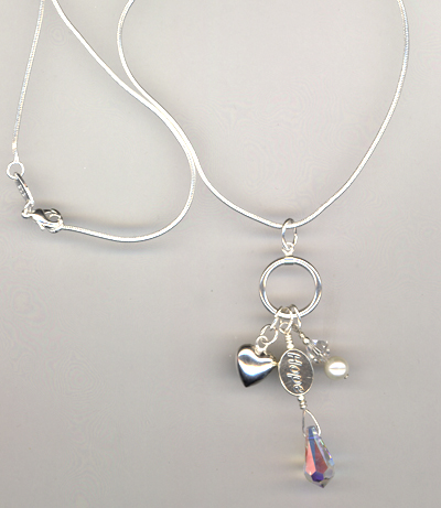 Hope Awareness Sterling Crystal Charm Necklace