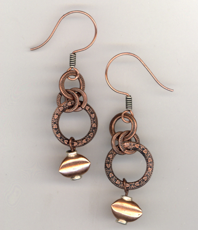 Copper Link Circle Earrings