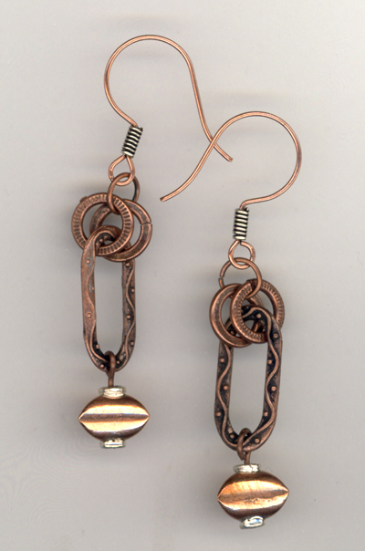 Copper Link Rectangle Earrings