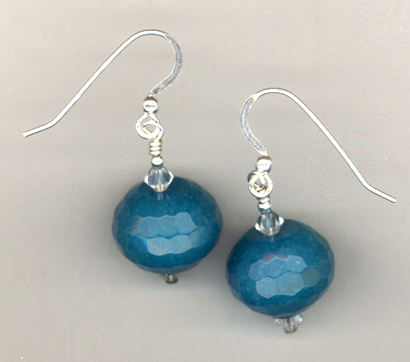 Aqua & White Summer Beaded Gemstone Earrings