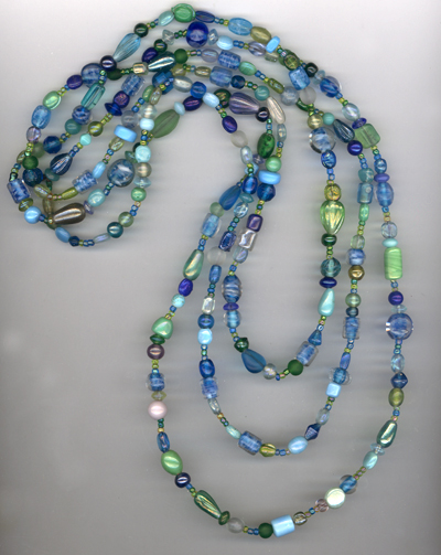 Super Long Funky Green/Blue Beaded Necklace
