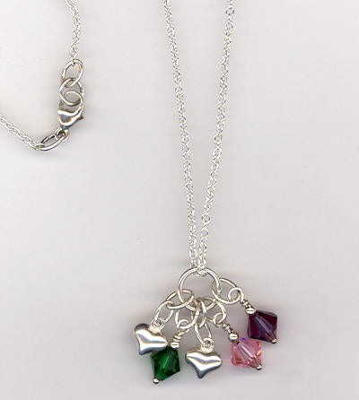 Custom Sterling Silver Crystal Mother's Necklace