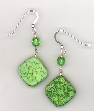 Green Apple Turquoise Crystal Earrings