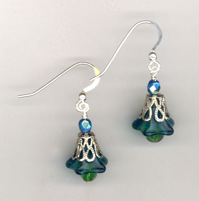 Emeerald Blue Bells Earrings
