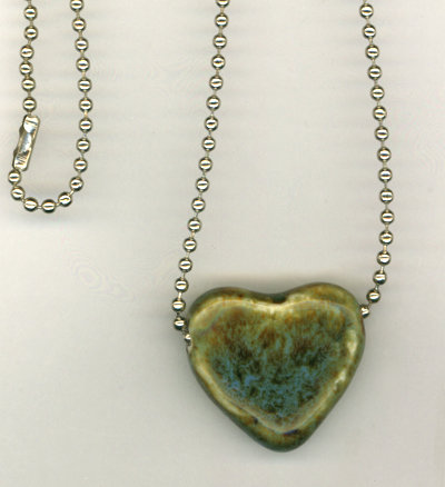 Ceramic Blue Heart Ball Chain Necklace
