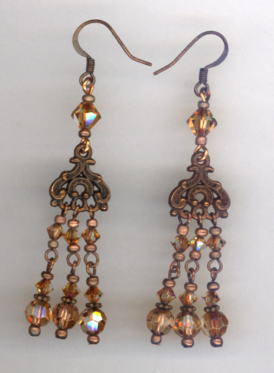 Vintage Copper Elegant Chandelier Earrings