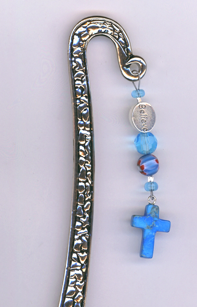 Believe Cross Turquoise Silver Bookmark