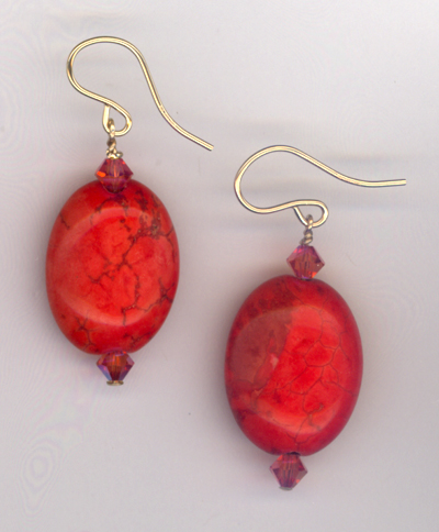 Autumn Gold ~ Red Turquoise Crystal Earrings