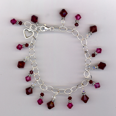 My Sweet Red Crystal Charm Bracelet