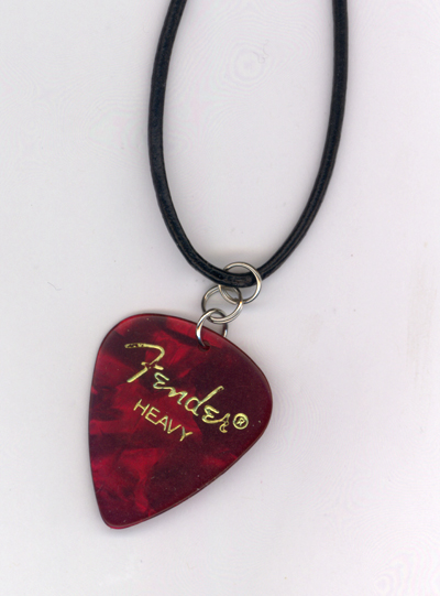 Red Fender Guitar Pick Leather Necklace