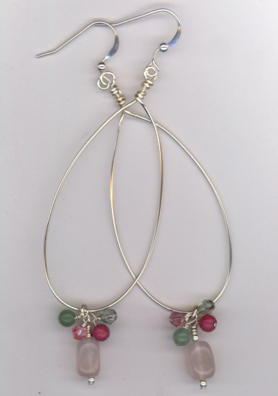 Silver Hoop Pastel Gemstone Earrings
