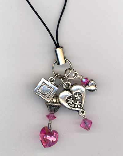 pink crystal heart cell phone charm
