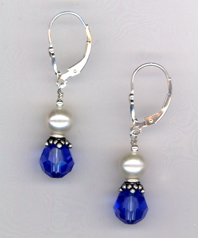 Sapphire Crystal Pearl Beaded Earrings