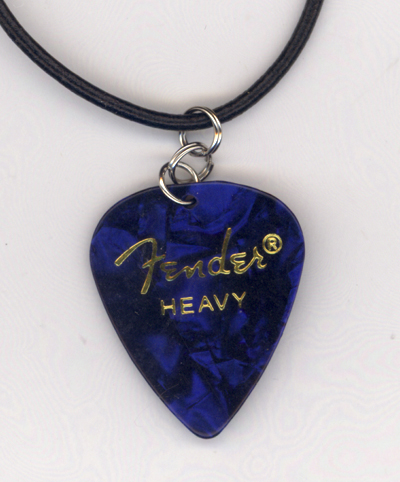 Blue Pearl Fender Guitar Pick Necklace