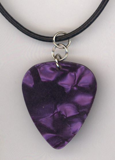 Purple Pearl Black Leather Guitar Pick Necklace