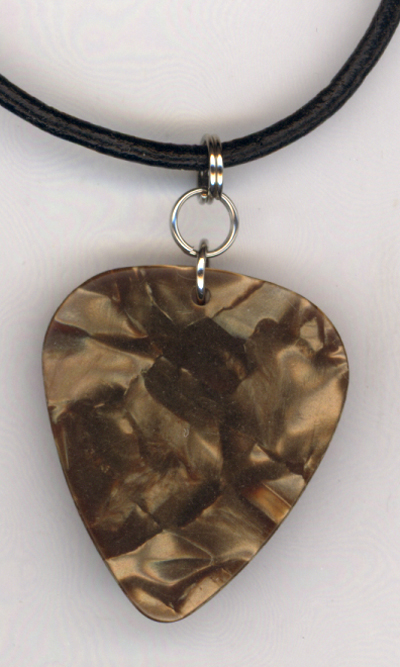 Brown Pearl Guitar Pick Leather Necklace