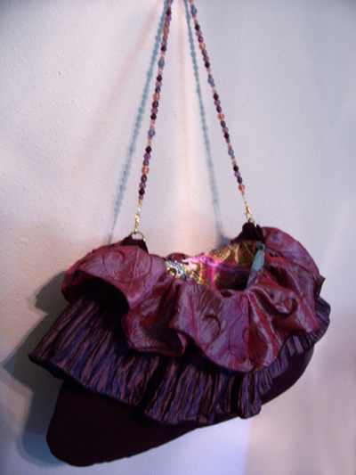 Purple Ruffle Beaded Purse