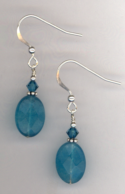 Caribbean Blue Jade Crystal Earrings