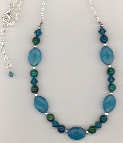 Caribbean Blue Gemstone Crystal necklace