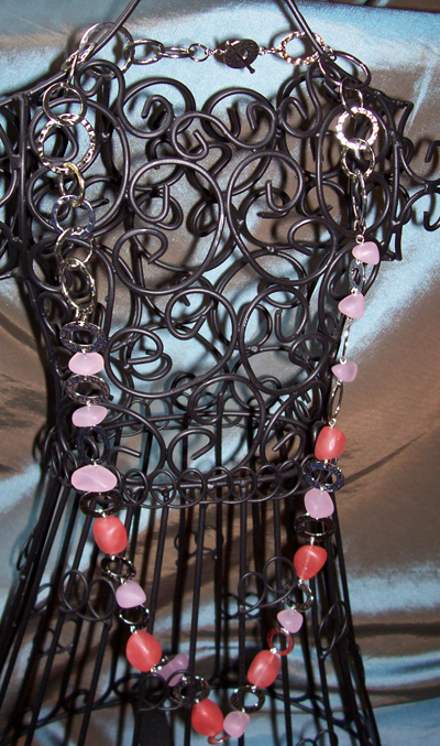 Pink Sea Glass Chain Necklace