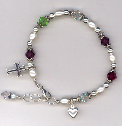 Generations Crystal Pearl Charm Bracelet