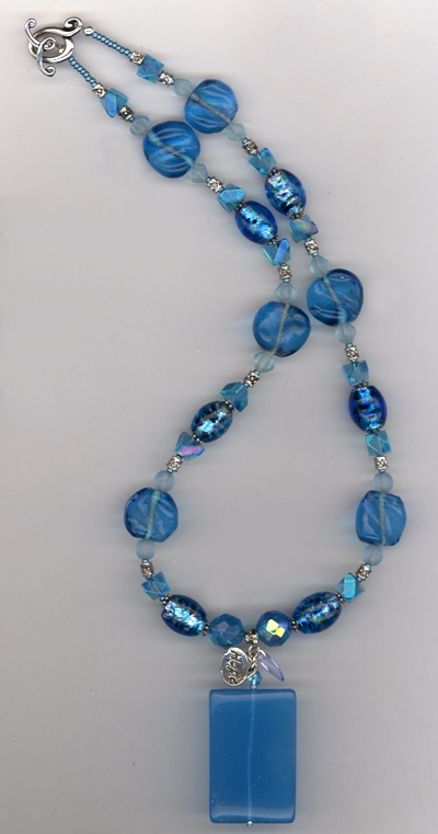 Beat The Blues ~ Aqua Lampwork Necklace