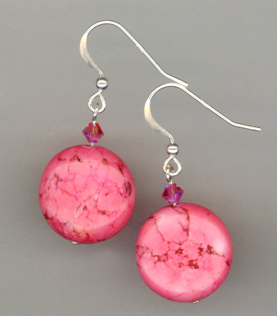 Cotton Candy Pink ~ Turquoise Crystal Earrings