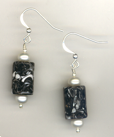 Black & White Pearls Sterling Earrings