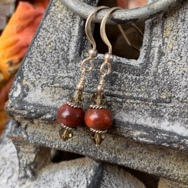 Smokey Jasper Gemstone Crystal Earrings