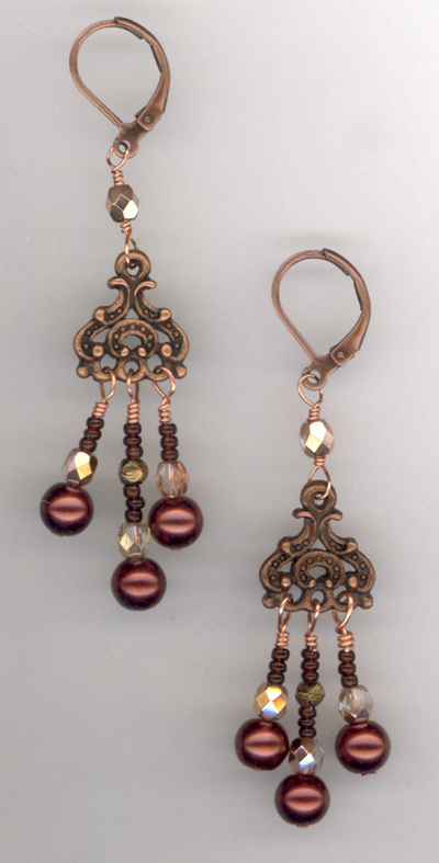 Chocolate Triple Delight ~ Chandelier Earrings