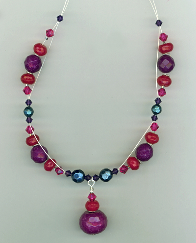Triple Berry Special gemstone crystal necklace